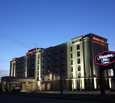 The Hampton Inn Winnipeg Airport is right next door to the Convention main entrance at the Vic.