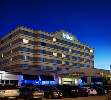 The Hilton Suites Winnipeg Airport is right across the street from the Vic.