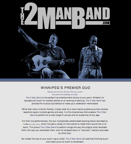 The 2 man Band will be your entertainment on Friday night, a must see and hear band, come and dance, sing along to great music at the Old Fashioned Manitoba Social