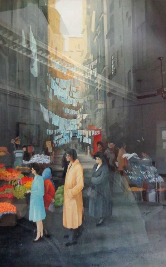 """Morning Market"" (Acrylic), Chauncey Nelson"