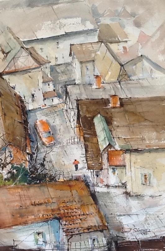 """Lionel Sanchez """"Quiet Village"""" Watercolor"""