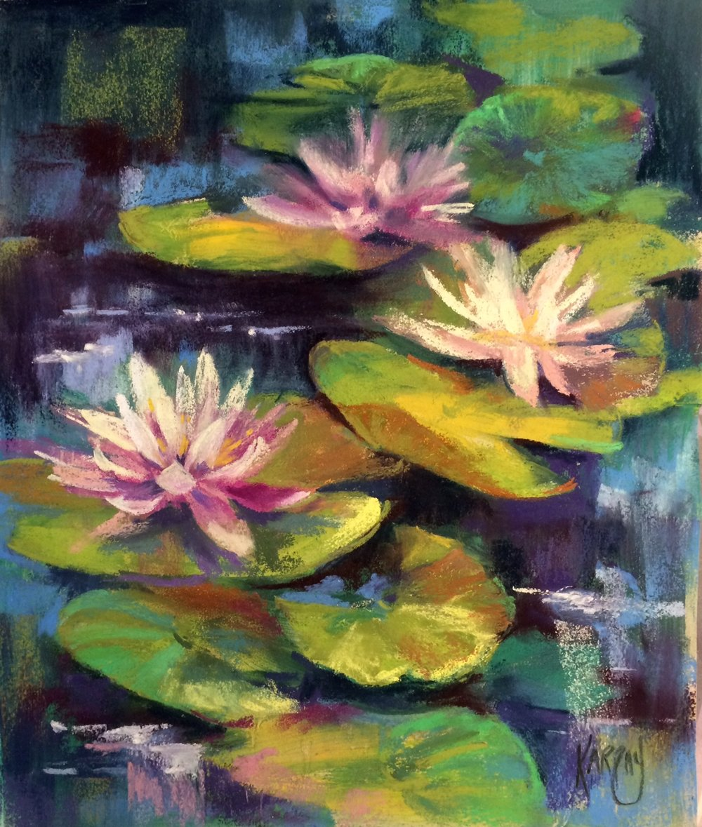 Three Lotus Beauties, pastel 12x16 (1).jpg