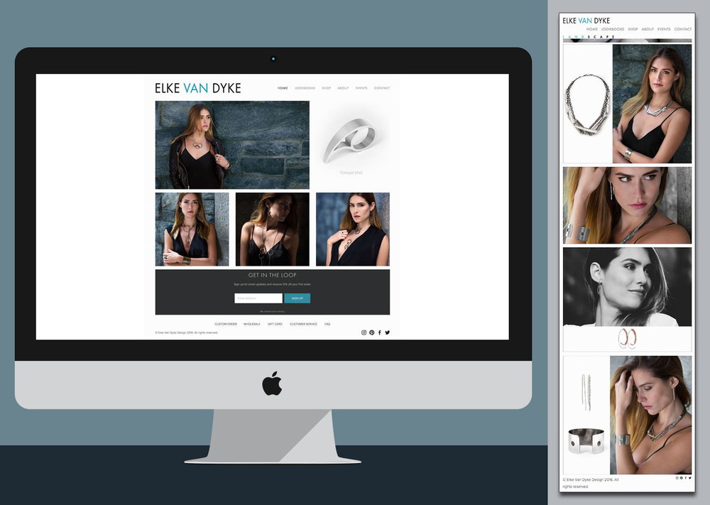 Elke Van Dyke - Website design, logo creation, eCommerce, branding, product & model photography, product & model retouching, image post-production editing