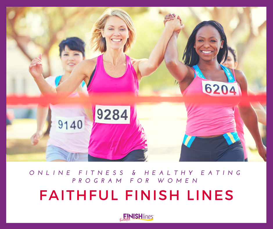 Faithful Finish Lines, a Christian weight-loss program. Women crossing the finish line, keeping their weight loss goals