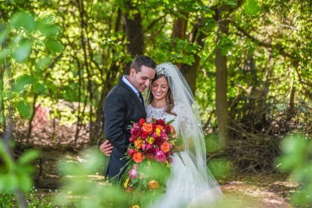 bride & groom in the woods ready to begin Christian marriage