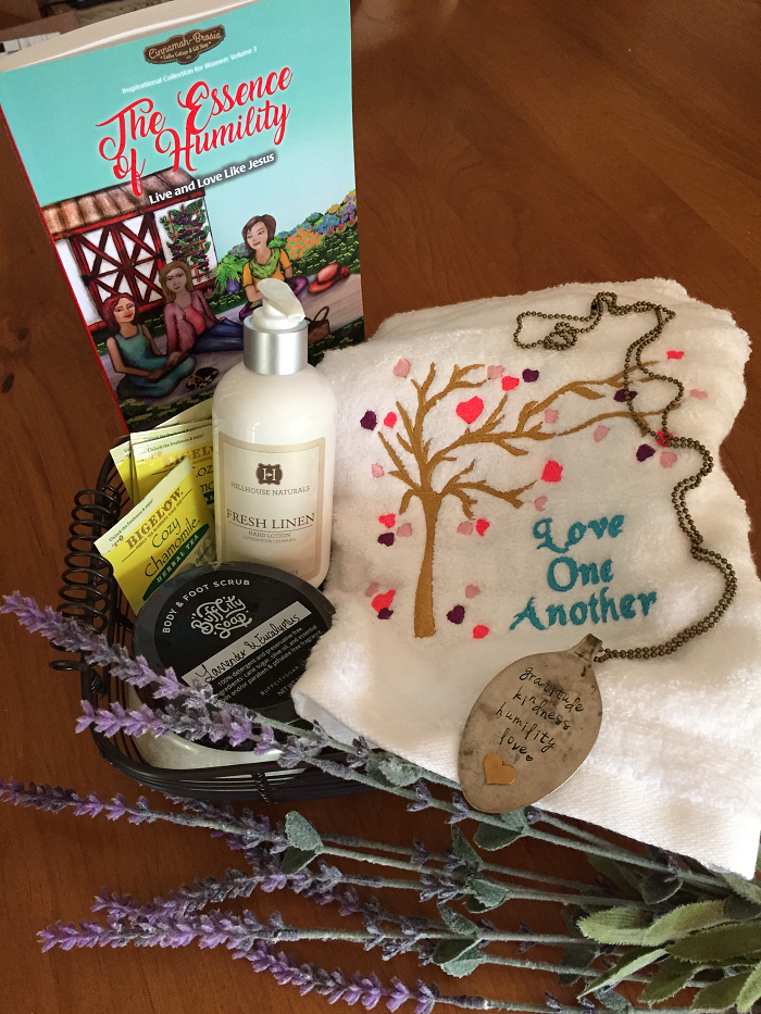 The Essence of Humility Giveaway: book, necklace, linen spray, chamomile tea, tea towel, & foot scrub. Enter the Giveaway  here .