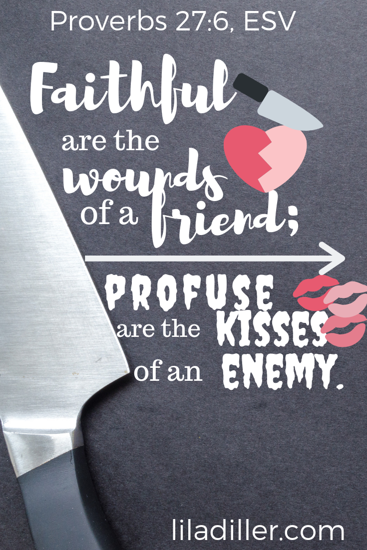 "Proverbs 27:6 ESV: "" Faithful are the wounds of a friend …"" Photo from  Canva , made by Lila Diller with  Canva ."