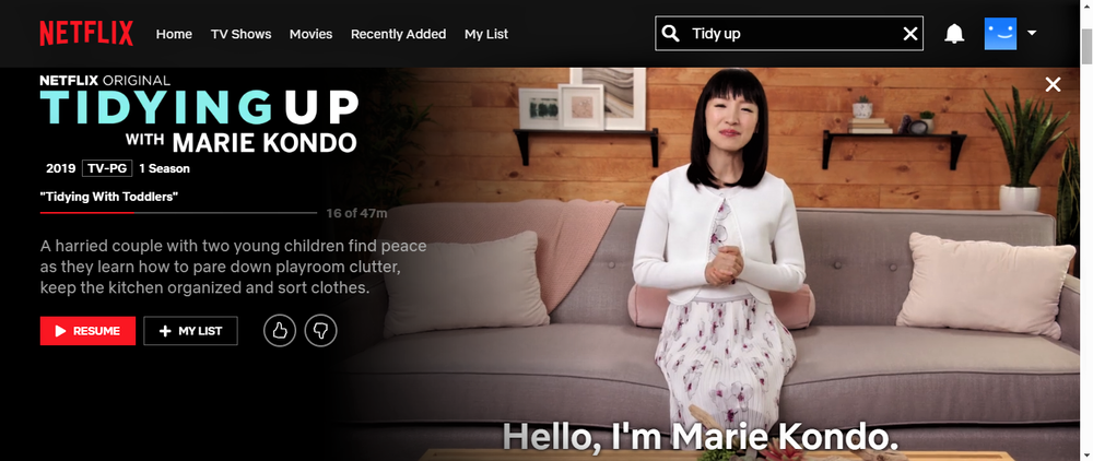 Marie Kondo in Tidying Up on  Netflix.com