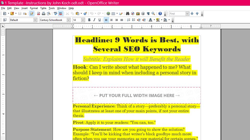 Blog template (from  John Koch )