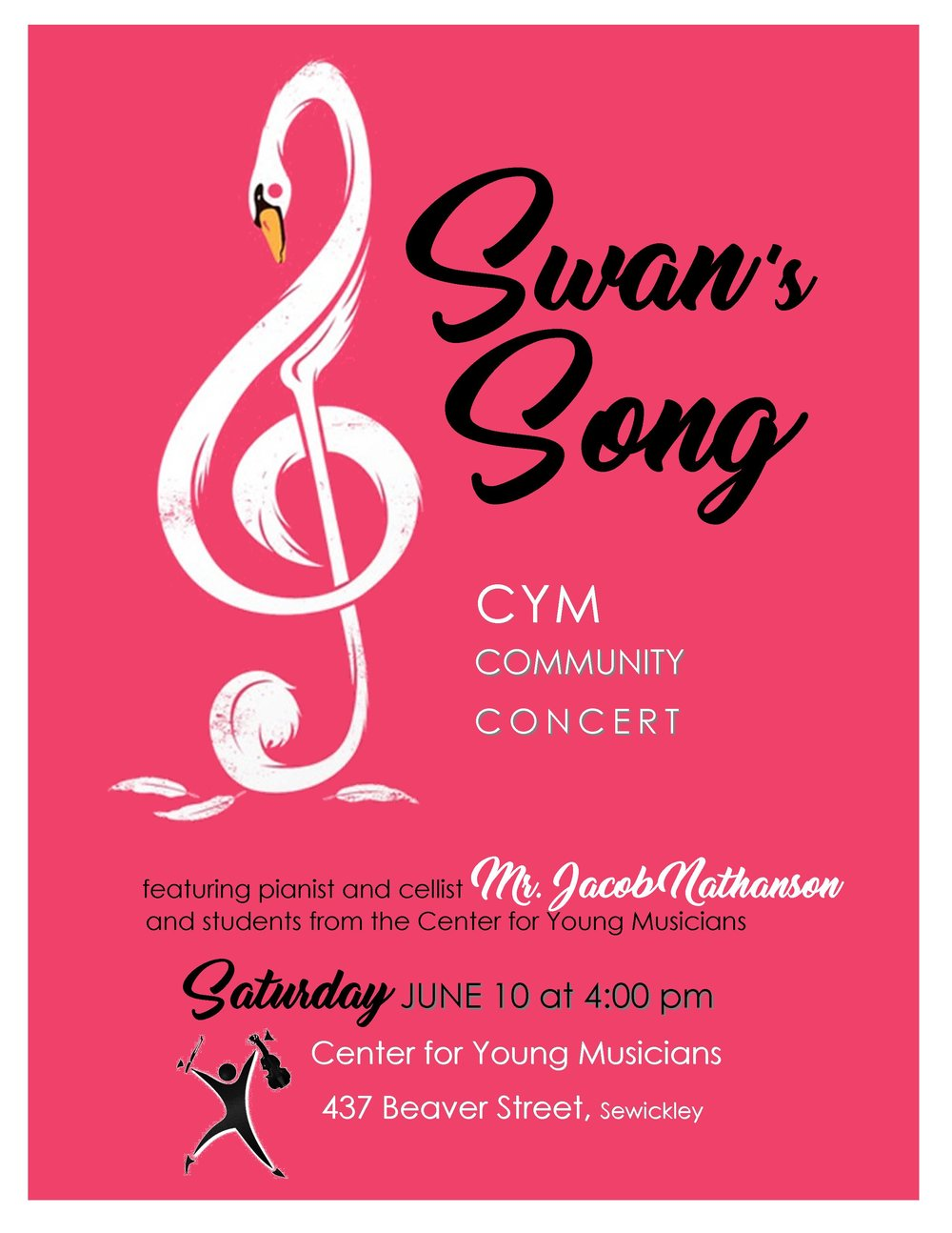 Join us this Saturday afternoon at CYM Sewickley as students from CYM instrumental studios join pianist and cellist Mr. Jake. This event is free and open to the public!