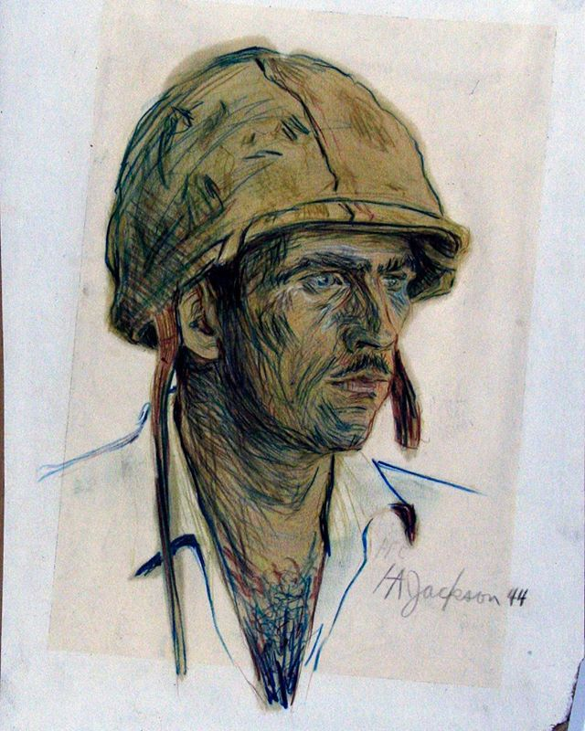 """Portrait of a Marine"", 1944.  Harry was the youngest ever officially commissioned #MarineCorps artist.  This is one of his thousands of sketches from his time in the Pacific where he fought at Saipan, Roi Namur, and Tarawa where he was wounded by shrapnel to the head.  This head wound resulted in epilepsy as well as a host of other mental and emotional issues that would affect Harry for the rest of his life.  #harryjackson #artist #nycartist #master #arthistory #bronze #sculptor #sculpture #painter #americanwest #artcollector #collector #realism #figurativeart #abstractexpressionism #oilpainting #americanart #midcenturymodern #modernism #postwar #pollock #dekooning #newyork #littleitaly #wyoming #italy #wwii #tarawa #marines"