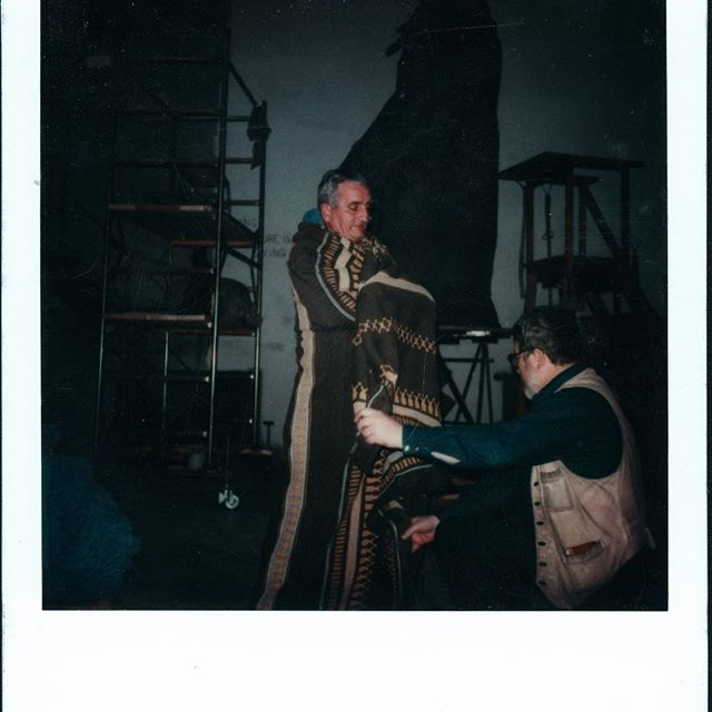 Was cataloging video tapes when this Polaroid, remember those, fell out from between some tapes. It's Harry Jackson seeing how he would like the robe on the Sacagawea sculpture to look. The man wrapped in the robe is his Italian Grounds keeper Sirio. Harry used him as a model many times over the years. #HarryJackson #americanart #Sacagawea #sculptor #americanwest #realism #art #makingart #inthestudio #70s