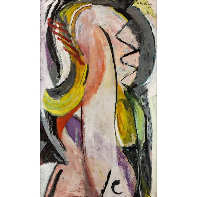 "This piece, ""Large Head of Grace"" is one of Harry's masterpieces that will be up for auction @shapiroauctions on January 26th.  Lots 121 and 122.  It is a portrait of Harry's first wife, #GraceHartigan, who was in her own right a very accomplished painter of the 2nd generation of abstract expressionists in New York.  This piece was featured in the seminal #Kootz gallery show ""Talent 1950"" along with other up and coming young artists like #LarryRivers and #ElaineDeKooning.  It was also featured at his first one man show at @tibordenagygallery.  His use of the human firm in his abstraction was something Harry never shied away from and in fact was one of the most identifiable traits in his abstraction of that time. #midcenturymodern #abstractexpressionism #newyorkartist #americanpainter #pollock #dekooning #oilpainting"
