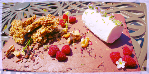 - Cheese plates are what you make of them and our customers love to showcase them like this. Try our Hibiscus Rose Petal Granola to add an excellent flavor pairing with soft cheeses.