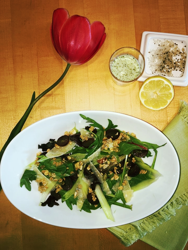 Lunch break! Maple Wonder Crunch adds a salty-sweet crunch to this yummy arugula, shaved celery, and grape salad