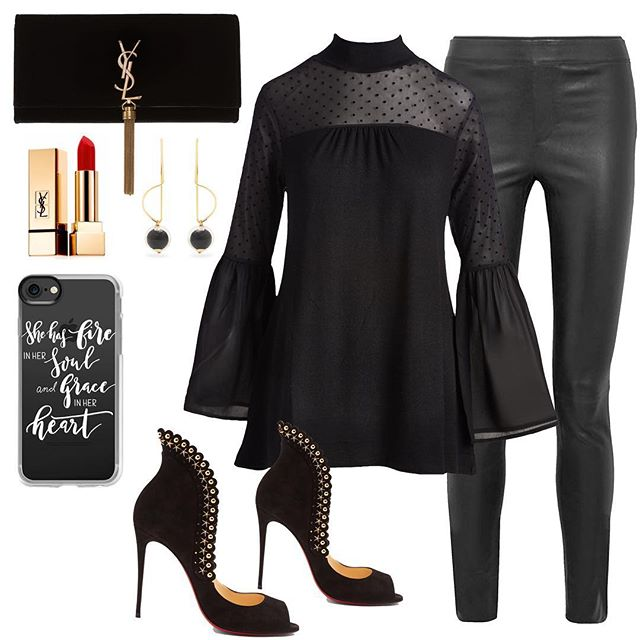 Get date night ready with our black Swiss-dot mesh pullover tunic with sheer bell sleeves, sphere drop earrings, paired with stretch leather leggings, Pijonina black suede Louboutin pumps, a black velvet monogram tassel clutch, a fun phone case, finished with a matte red lip! #styled #myaugustsilk
