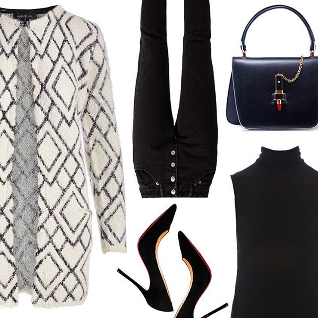 Don't let this chilly weather put a damper on your style! For a sleek and sophisticated look that will keep you cozy this fall start with a black sleeveless stretch viscose turtle neck, tube high-rise straight leg jeans, our @augustsilk cream diamond textured long open coatigan, a black leather red lipstick queen shoulder bag, finished with black suede Louboutin's to complete this look! 👠👠#styled #myaugustsilk