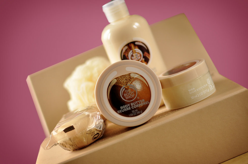 The Body Shop - and splurged a bit on products (it costs a pretty penny, but they've got BOMB ASS DEALS and it works).