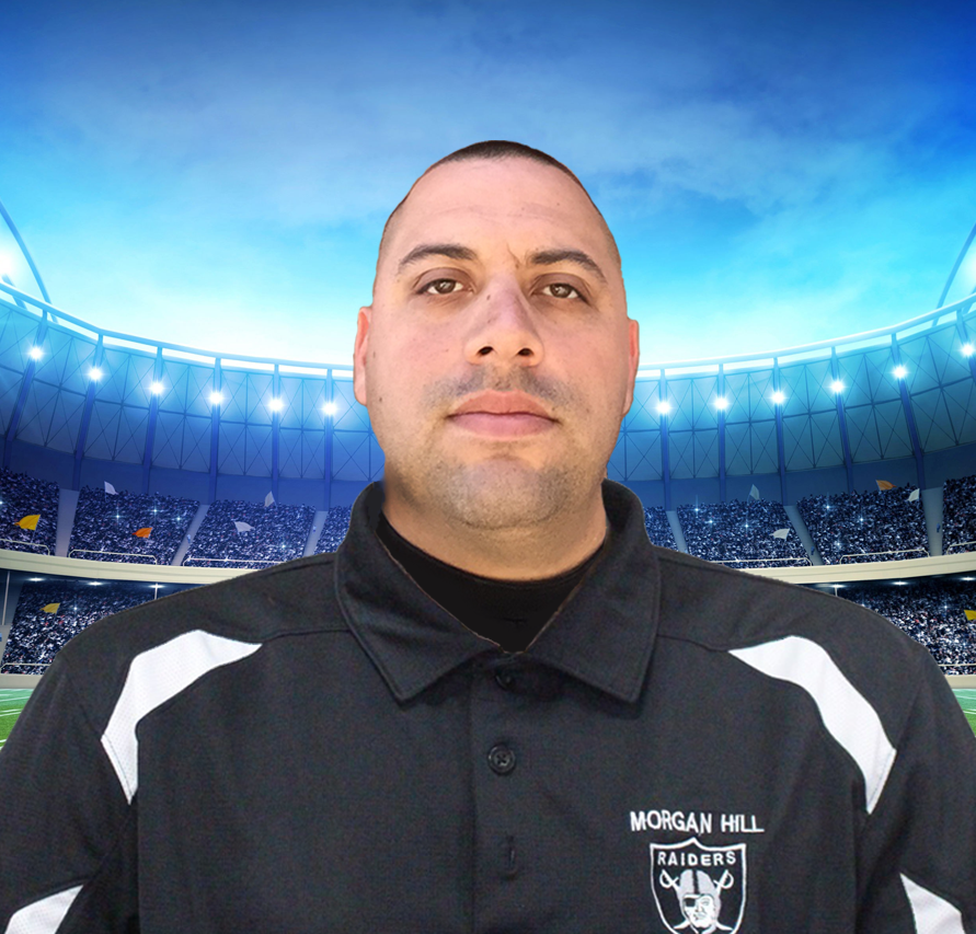 """Coach Fabian Desantiago (Contact) Head Coach:Tiny-Mites Coach """"D"""" has over ten years' experience coaching youth sports, three of those as a coach for the Morgan Hill Raiders Organization. In addition to coaching, he has four boys in the Pop Warner Program (two in Tiny Mites and two in Mitey Mites). """"My philosophy is to have fun, teach fundamentals, and demonstrate respect on and off the field. At this age, it is all about instilling a love for the game through fun workouts and positive feedback. I look forward to coaching your children and teaching them not only football but life lessons as well."""""""
