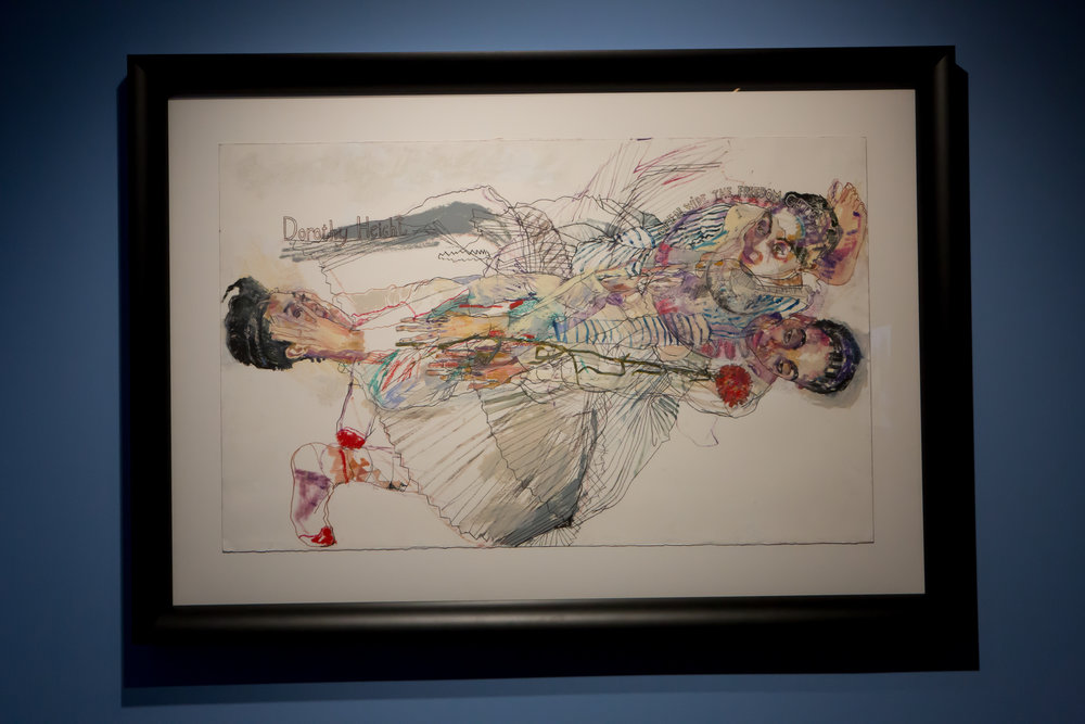 "Howard Tangye  (b. 1948)   Open Wide the Freedom Gates   2016 Mixed media: oil, pastel and graphite on paper 30 x 48"" (76.5 x 122 cm) Courtesy of the artist and Amar Gallery"