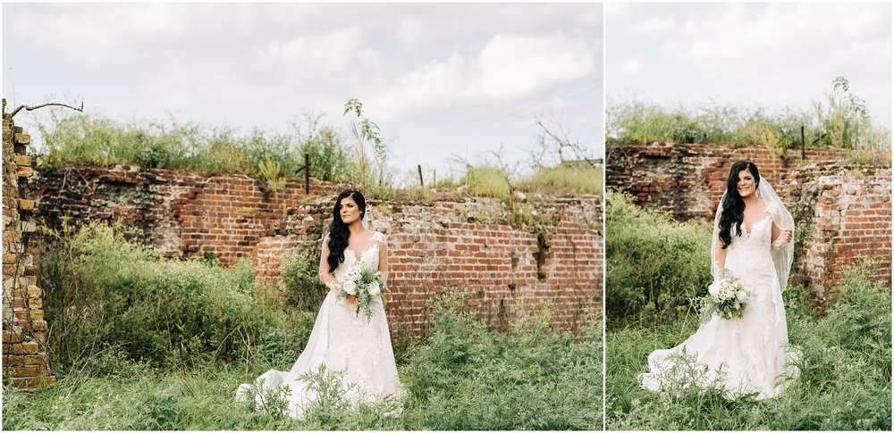 Bridal Portrait Session in Darrow, Louisiana on a farm. Country land with horse. Photographed by Magnolia and Grace Photography.