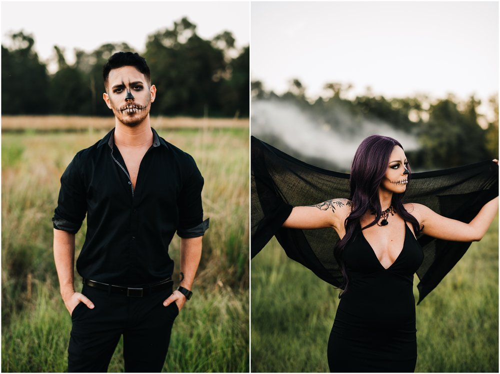 A Spooky Skeleton Halloween Session photographed by Magnolia and Grace Photography in Baton Rouge, Louisiana at LSU Rural Life Museum. A Skeleton Couple with creepy vibes in a beautiful fall setting.