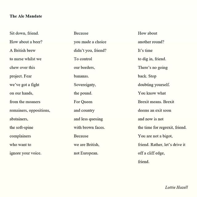 A poem I wrote before Christmas that feels horribly relevant today as I try to refrain from pulling my hair out as I listen to people arguing on the radio. If you're feeling the same, sign the petition to revoke article 50. We have to do something before we go hurtling into the void. Back to porridge posts tomorrow, probably. Oh, and happy #WorldPoetryDay.