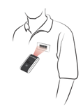 Barcode scanner scanning employee badge