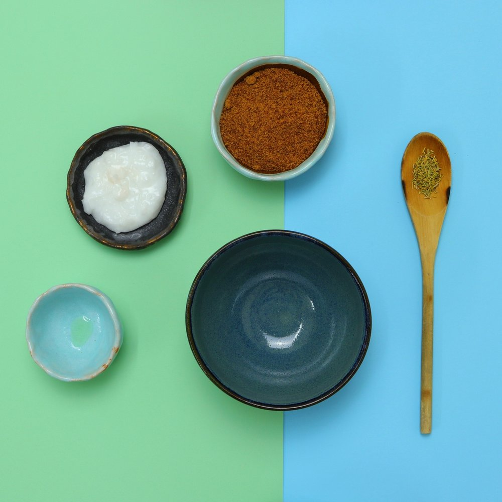 Method - In a bowl mix:- 6 tbsp coconut palm sugar- 1 tsp dried rosemary- 3 tbsp organic unrefined coconut oil- 10 drops lavender essential oilStore in an airtight container.Rub all over your body (avoiding the face)after a warm shower or bath. Then rinse well after use.