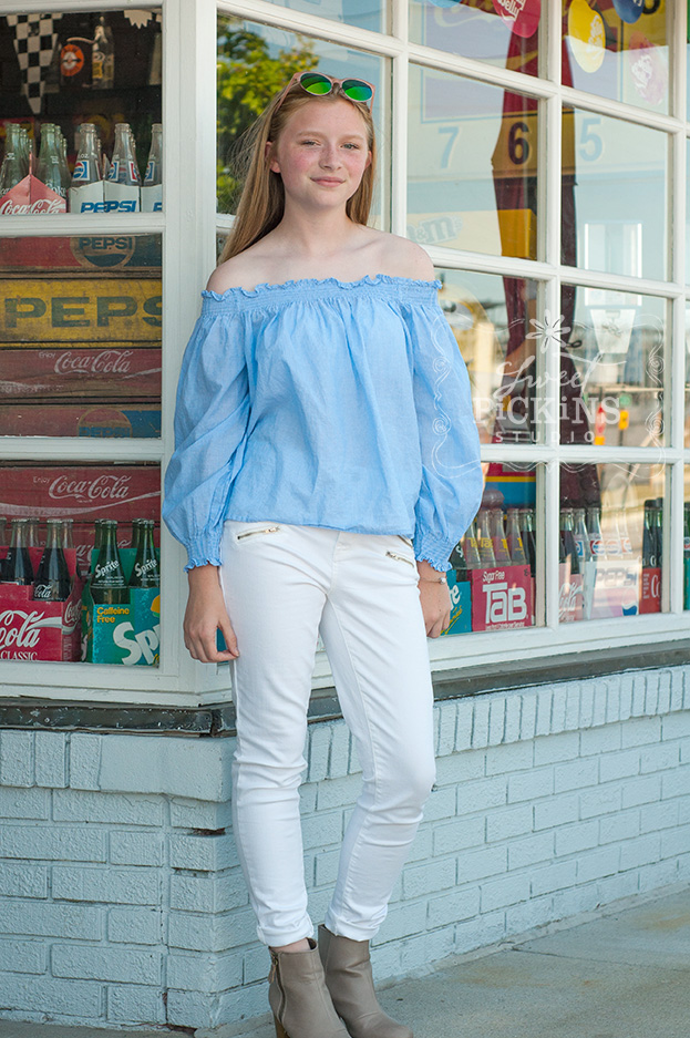 Teen Portrait Session with Vintage Storefront Window | by Sweet Pickins Studio Photographer