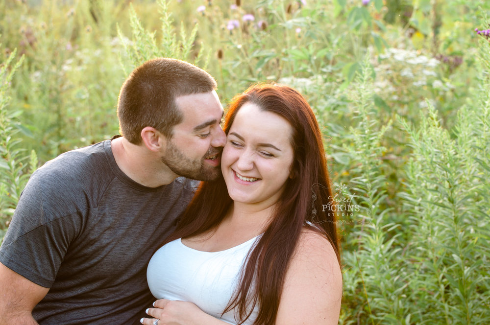 Peru, Indiana Maternity Married Couple Photo Session in Field at Sunset | copyright Sweet Pickins Studio