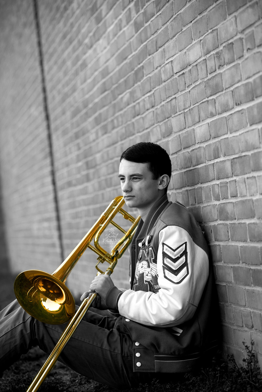 Sweet Pickins Studio Senior Photo Art | Senior Guy with Trombone in Black and White