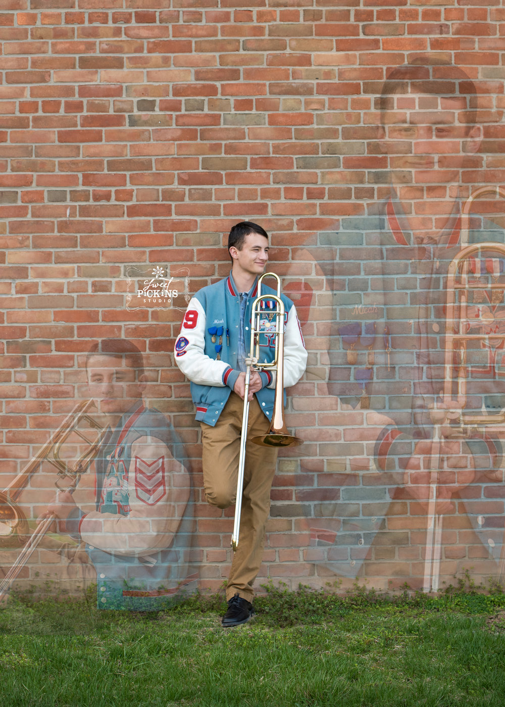 Creative Photo Collage with Superimposed Images for Maconaquah Senior Session by Sweet Pickins Studio | Band Senior with Trombone