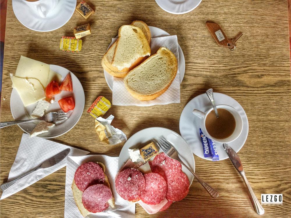 Simple breakfast at our hotel in Etara, Gabrovo, Bulgaria April 2017