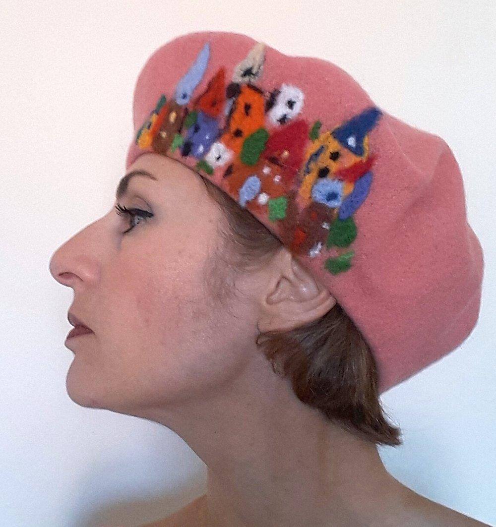 Peach beret with town.jpg