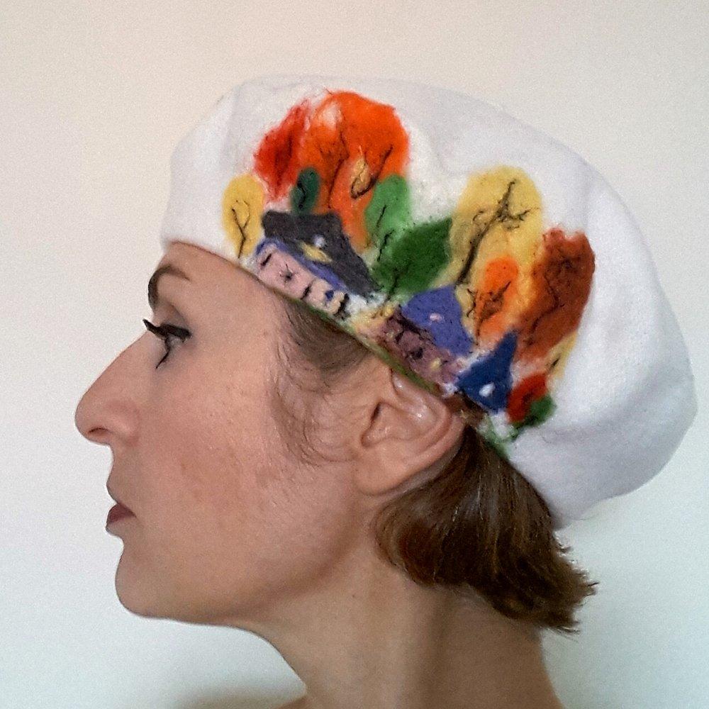 White beret with village  .jpg