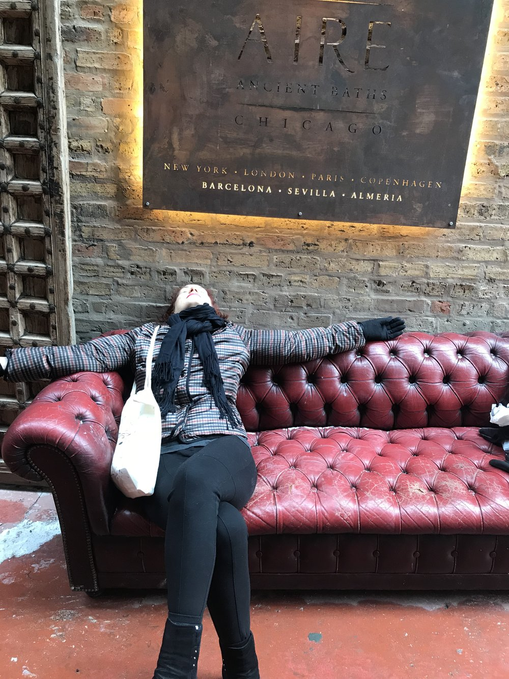 Me, after exploring Air Ancient Baths, Chicago on a 3 degree January day in Chicago - no worries as the floors are heated and the baths are all warm and relaxing.  I barely needed a robe to navigate each bath, the salt scrub area and eucalyptus steam room (my fave!).