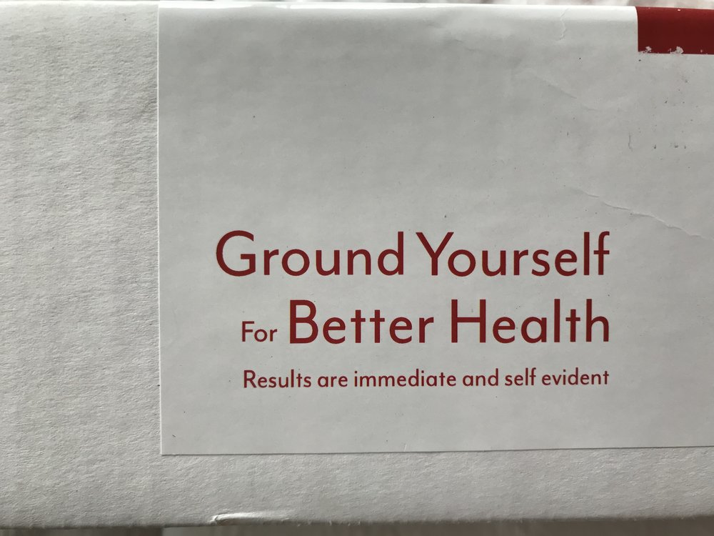"The box from the   grounding mat   I have on my bed. ""Results are immediate and self evident.""  Yes they are."