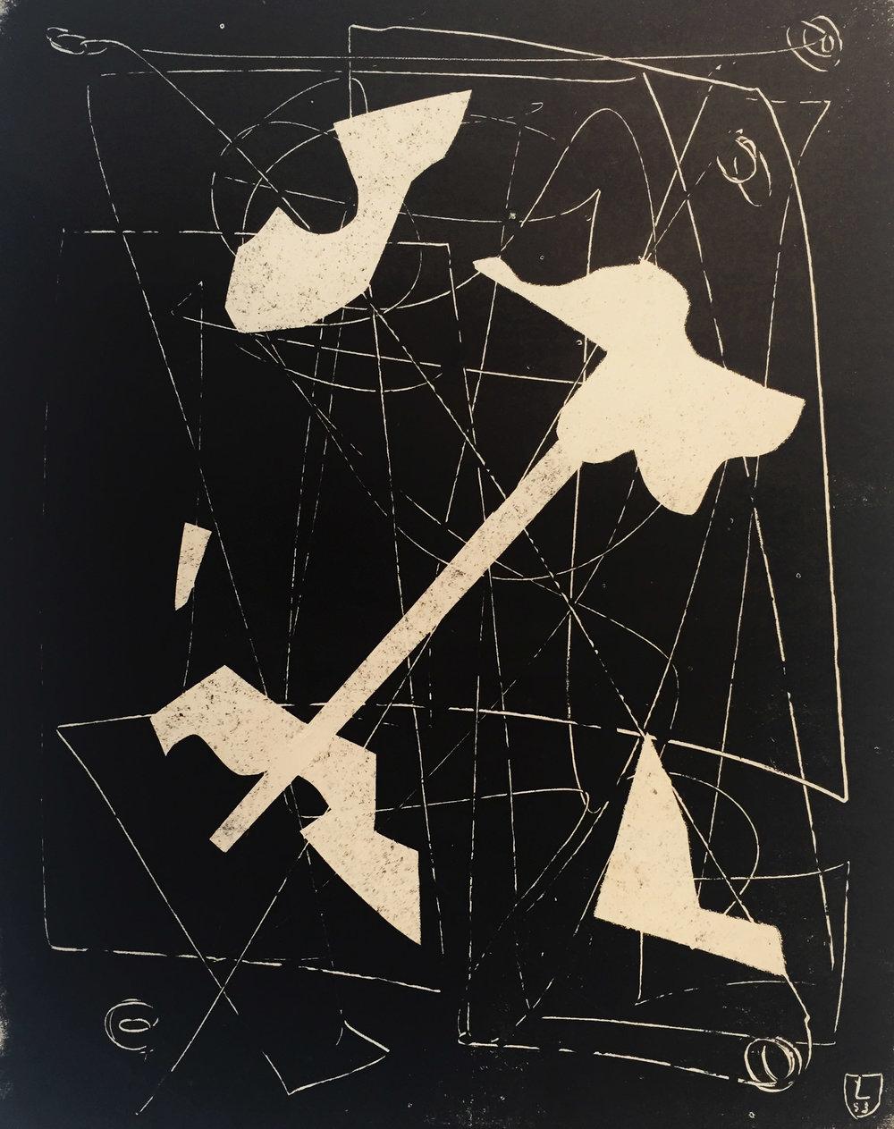 Jorge Lezama monocopia 49 x 41 cm. 1957