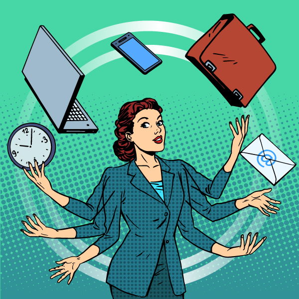 Time Management Tips, Juggling Priorities, Busy Business Woman