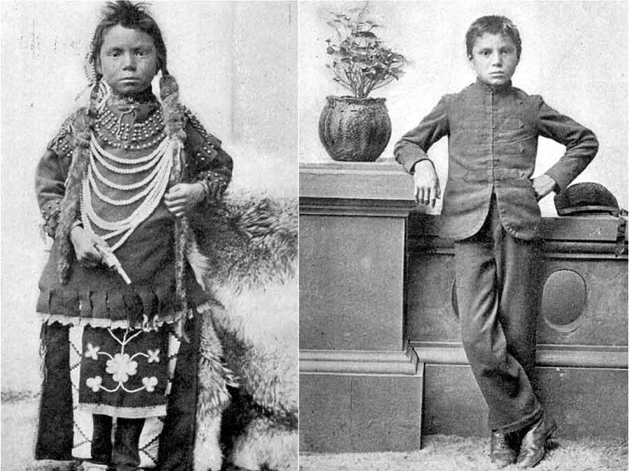 Thomas Moore before and after his entrance into the Regina Indian Residential School in Saskatchewan, 1874.  Library and Archives Canada / NL-022474