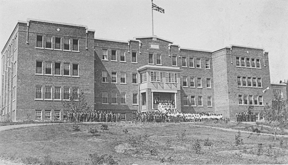 St. Michael's Indian Residential School in Alert Bay. The last school was closed in 1996; 150,000 First Nations children were forced to attend these schools.