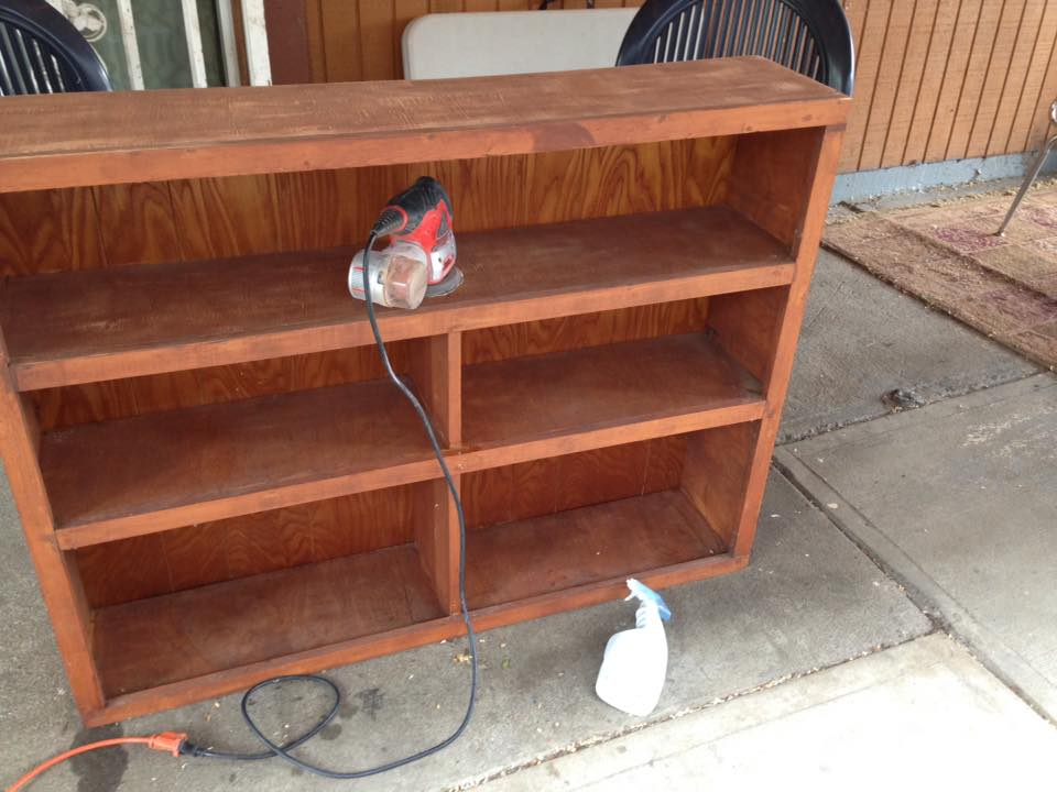 The aforementioned bookcase rescued from my mother's garage and being cleaned up and restored.
