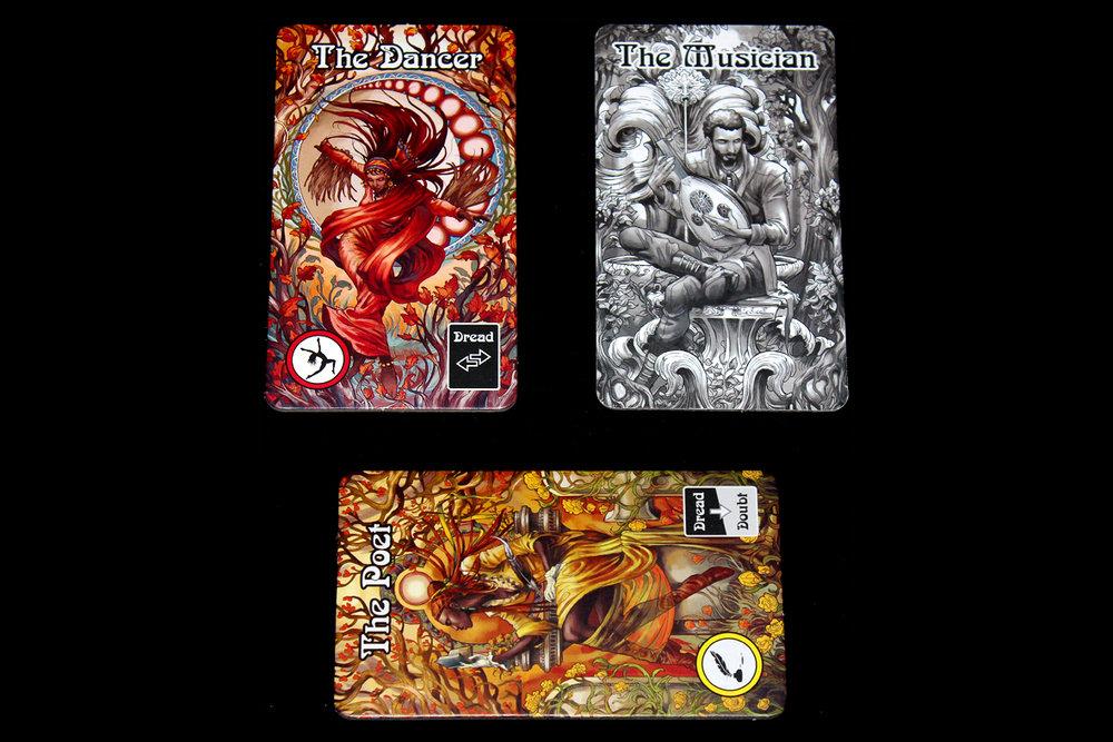 Left: Sane; Bottom: Insane; Right: Fantasma