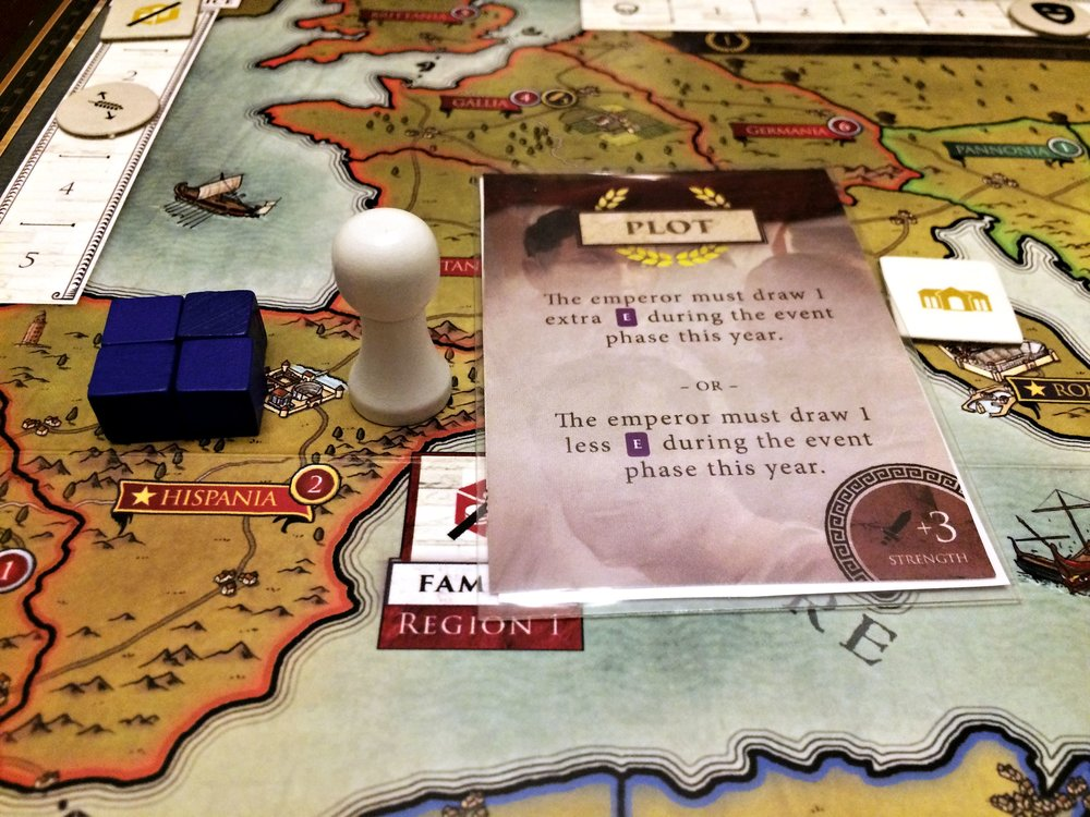 Hispania reconquered with white player pawn buffed by 3 strength Plot card!