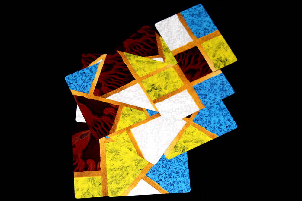 In this photo, there are three red fragments, four yellow fragments, six white fragments, and six blue fragments.