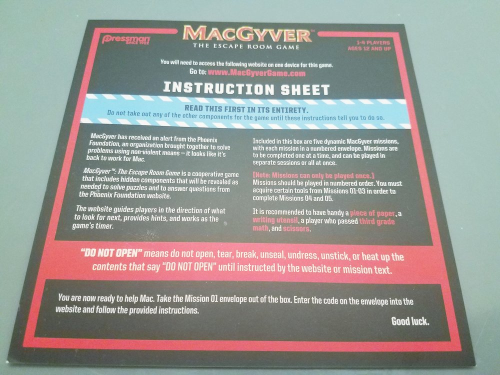 The Cardboard Hoard Initial Thoughts On Macgyver The Escape Room