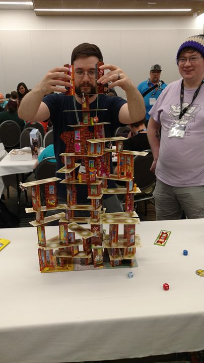 5. Super Rhino Hero - I brought several lighter party games to the Punchboard Media meet up. I worked hard to get game started and get people playing and make sure people were having fun. I did have some fun though - particularly playing Super Rhino Hero, seen here with Steve Caires.