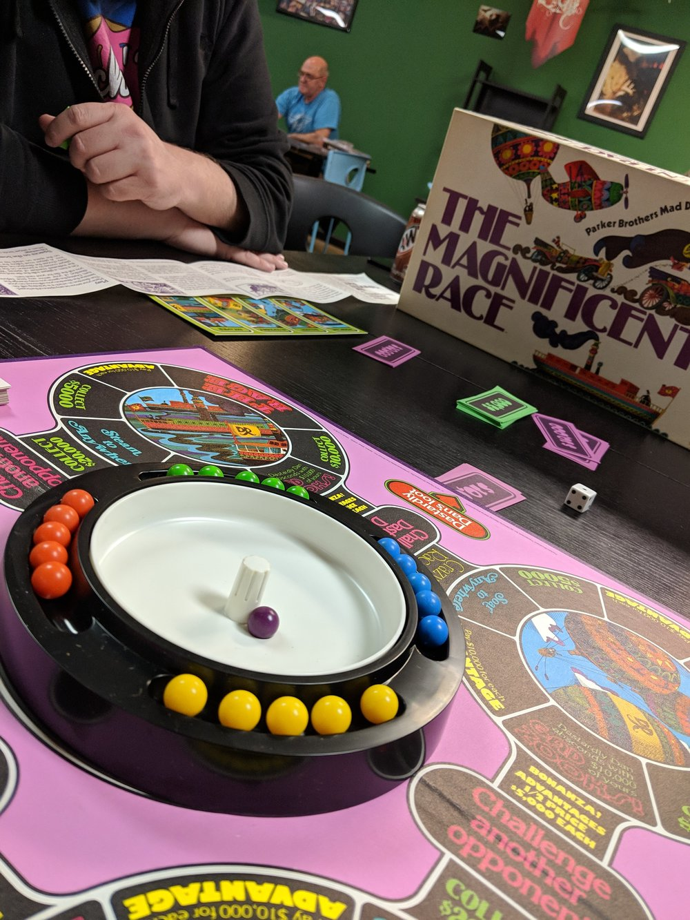 "10.The Magnificent Race - I went to Kitchcon - see the write up - I got to meet Scott ""ScooterB"" from twitter and some other new friends and played a bunch of new and old kitchy games. The highlight was ""The Magnificent Race"" which I bough on eBay at dinner on the way home and have played at at least three events since. It is always a hit."