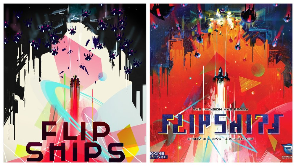 Concept art for Flip Ships (left) and the completed cover (right)